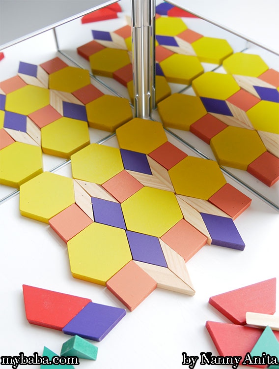 Exploring patterns with mirrors activity.  A great stem activity for children to explore symmetry.