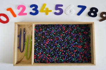 chickpea sensory counting tray