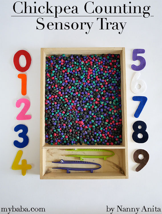 Help develop number skills with this chickpea sensory counting tray