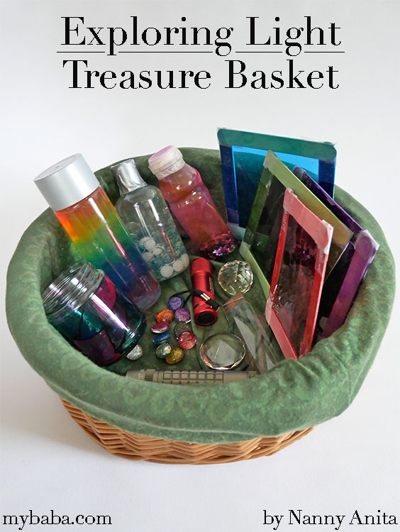 A treasure basket about exploring light - a STEAM activity for children.