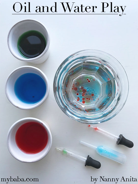 oil and water play in this stem activity for preschoolers and toddlers.