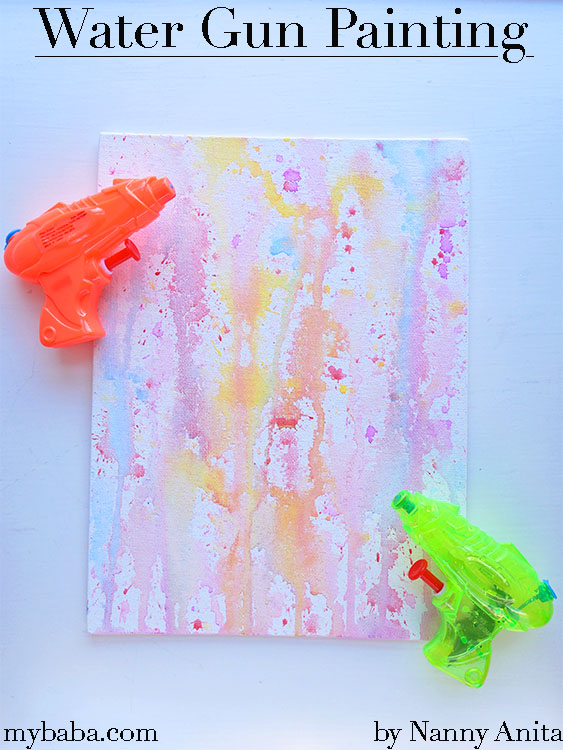 use water guns to create these really unique water gun paintings.  great kids craft for the summer.
