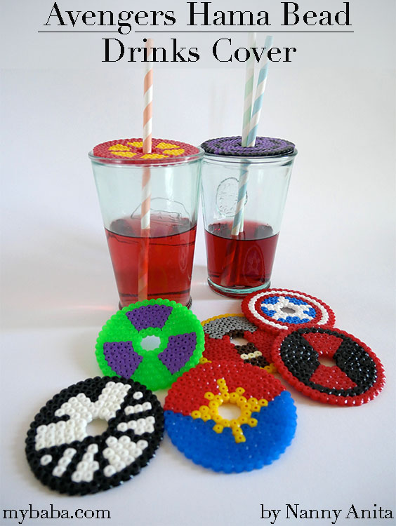 Keep flies and wasps out of your drinks with these Hama bead Avengers drinks covers.  They also good for keeping a track of which drink is yours.