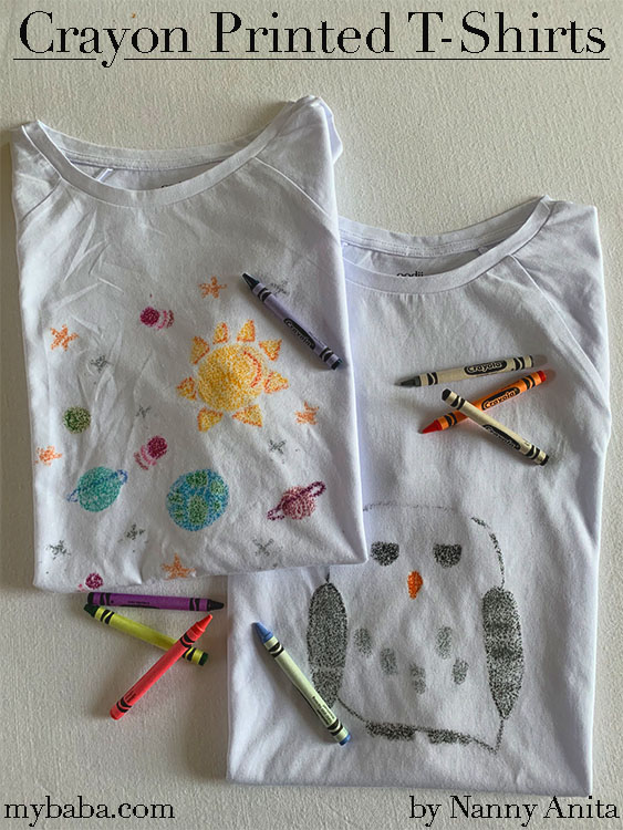 Crayon printed tshirts are fun for children of all ages.  Plus it's a great activity to give old t-shirts a new lease of life.