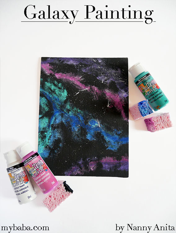 Galaxy painting is a really easy craft for kids to do.