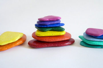 rainbow stacking stones