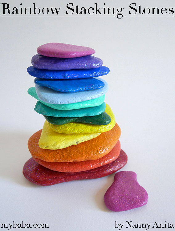 Rainbow stacking stones for use in creative play and as a calming activity.