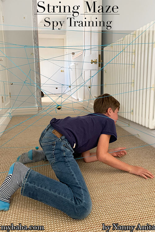 Spy training: Mission string maze.  A great rainy day activity or party game idea for a spy themed party.