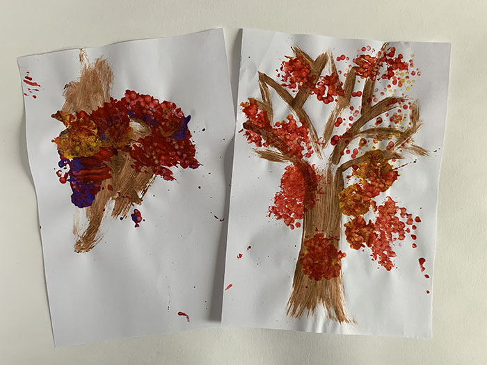 q-tip stamped autumn tree pictures