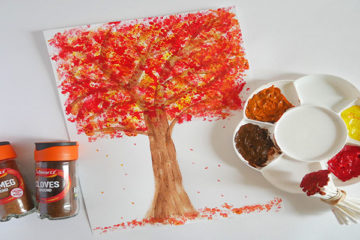 q-tip stamping autumn tree pictures