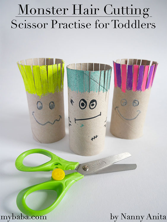 Monster Hair Cutting Activity for toddlers and preschoolers - to help develop their scissors skills
