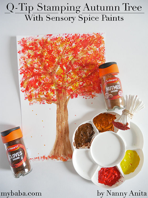 q-tip stamping autumn tree pictures using sensory spice paints