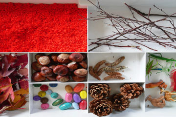 autumn scene sensory tray
