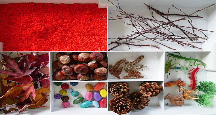 autumn scene sensory tray