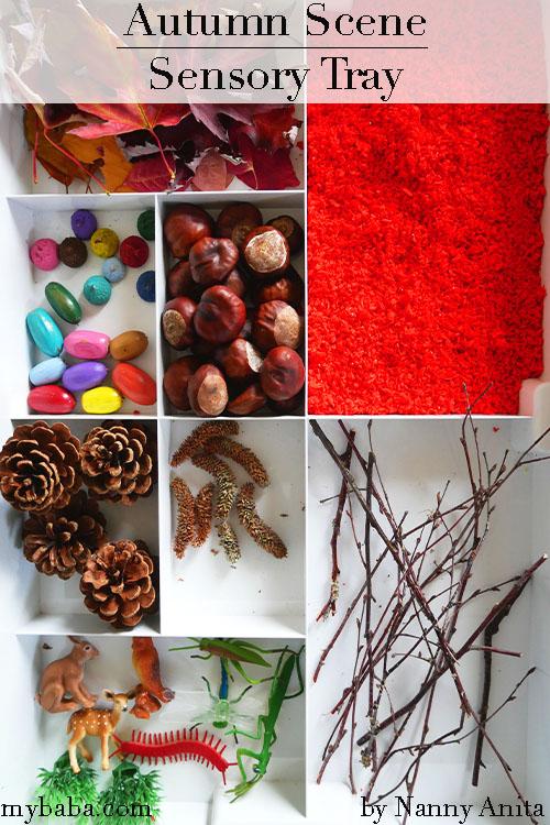 Autumn scene sensory tray for children