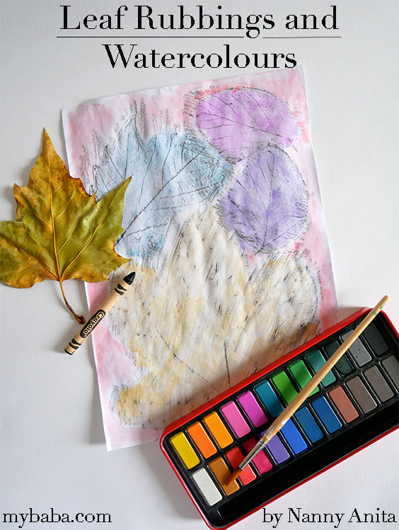 Leaf rubbings and watercolours make unique and colourful autumnal pictures.