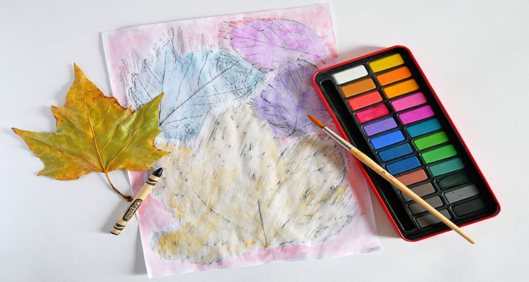 leaf rubbings and watercolours