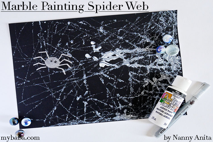 Marble painting: Spider Webs is a quick and easy craft for kids, great for developing fine motor skills and creativity.