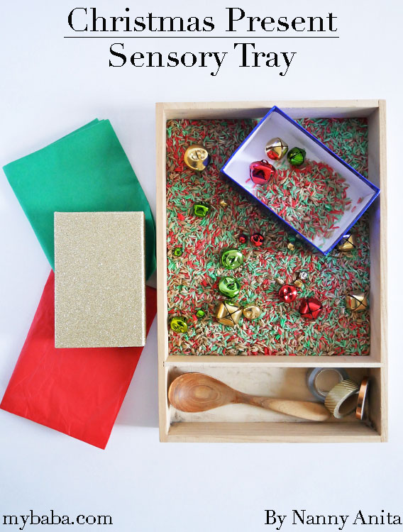 Christmas present sensory tray for toddlers