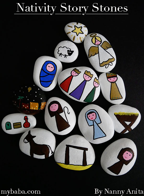 Nativity story stones to help teach and tell the story of the birth of Jesus to children.