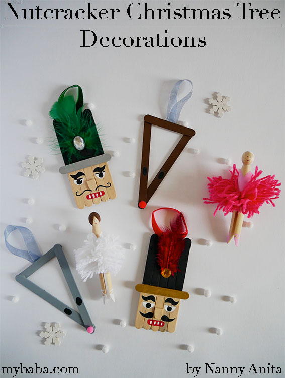 Nutcracker craft stick Christmas tree decorations, inspired by the Nutcracker ballet