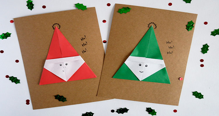 Origami Santa Christmas cards