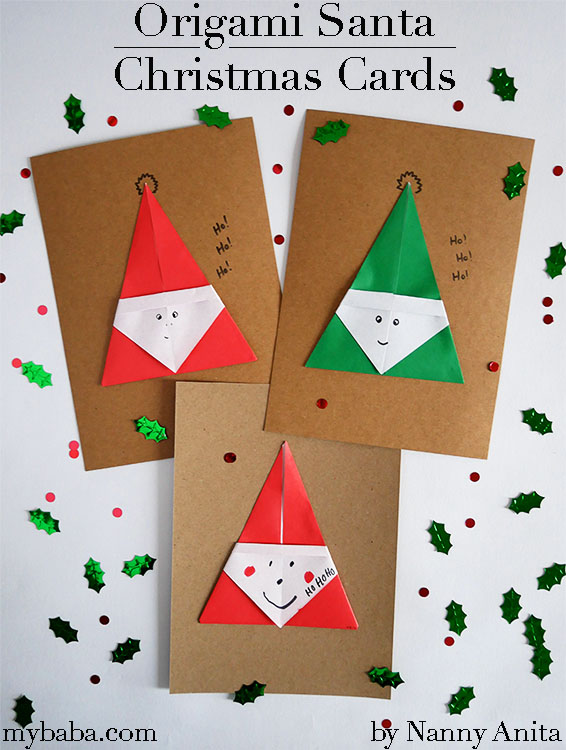 Simple origami santa Christmas cards for children to make