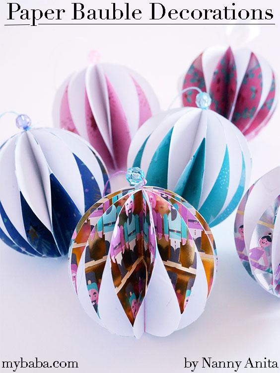 3d paper baubles christmas decorations
