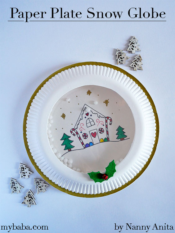 Paper plate snow globe craft for kids.
