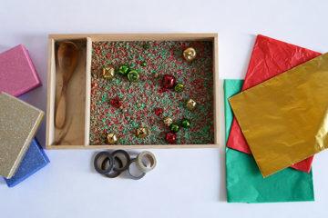 christmas present sensory tray