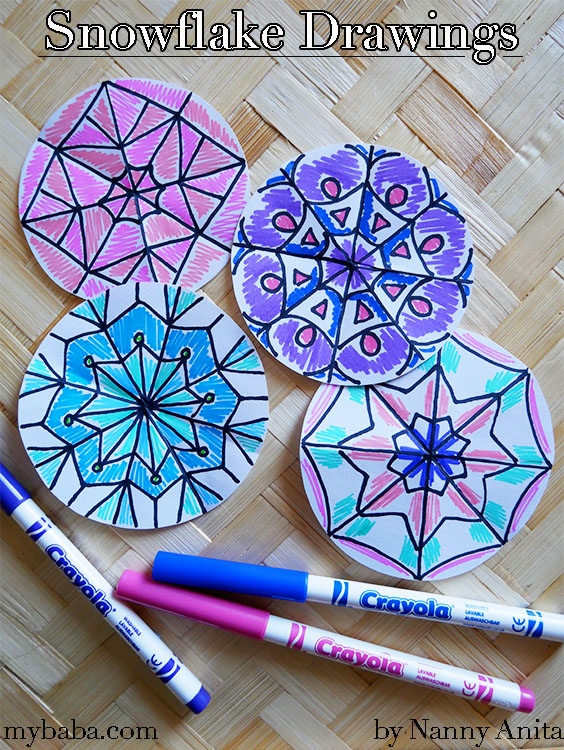 Snowflake drawings - to do at home or as a busy bag for kids. Plus they make great decorations.