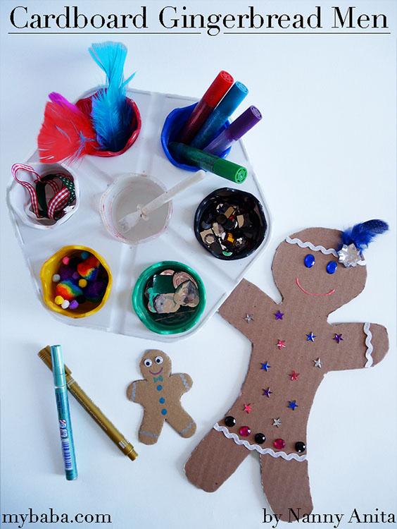 Cardboard gingerbread men craft for kids.
