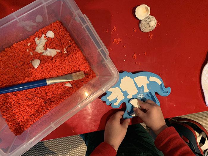 dinosaur dig sensory tray