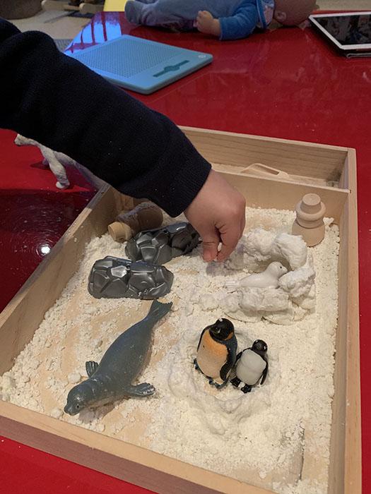 winter animal sensory tray