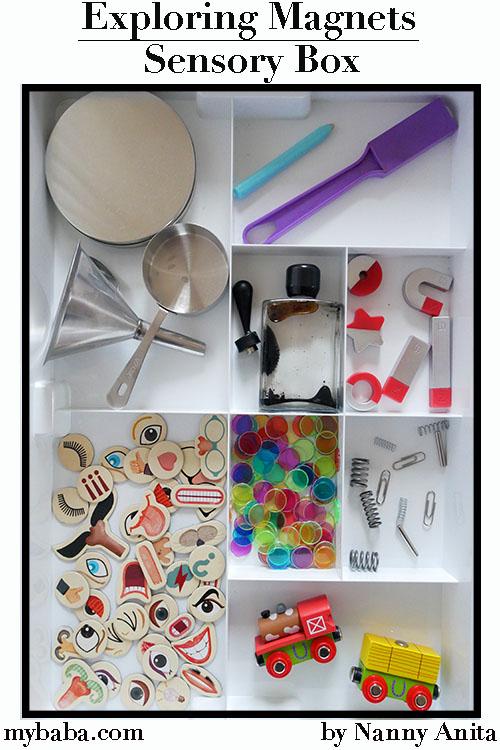 Exploring magnets sensory tray for children.