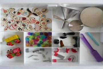 exploring magnets sensory tray