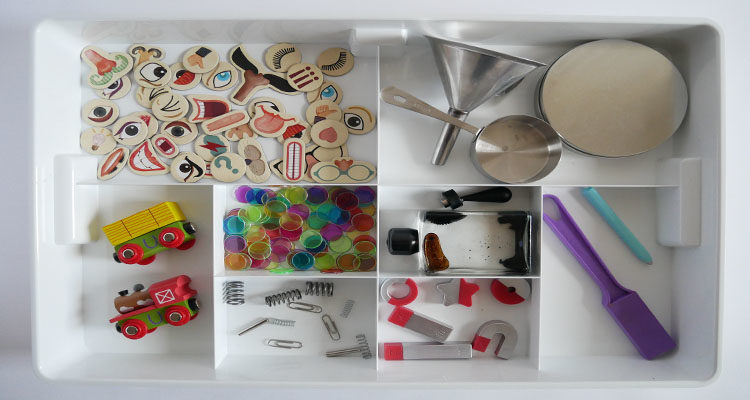 exploring magnets sensory tray