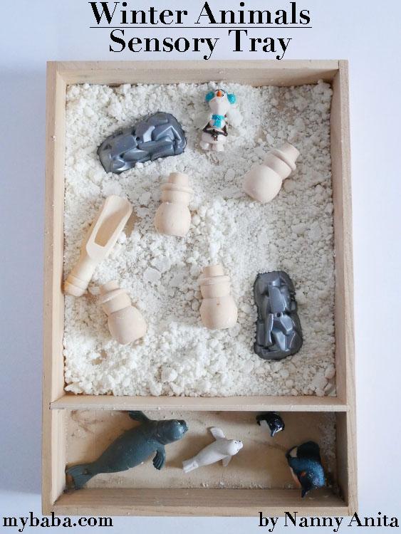 Winter animal sensory tray with taste safe cloud dough