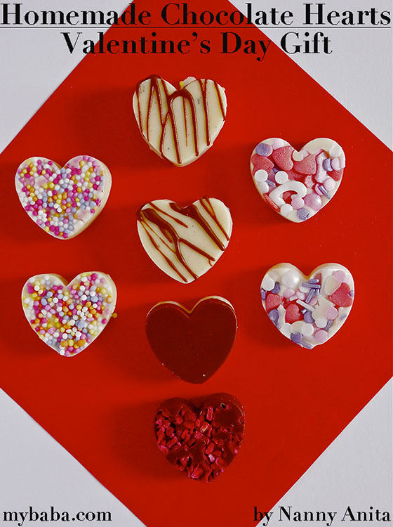 Homemade chocolate hearts are super easy for kids to make, and make a great Valentine's day gift for friends and loved ones.