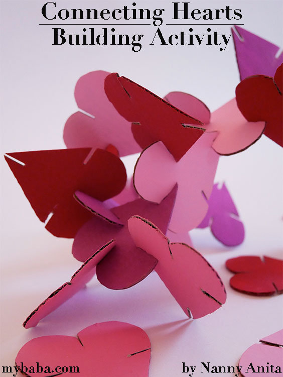 connecting hearts building activity: Fun Valentine's activity that can become a busy bag, used independently to build with, or as part of loose parts play.