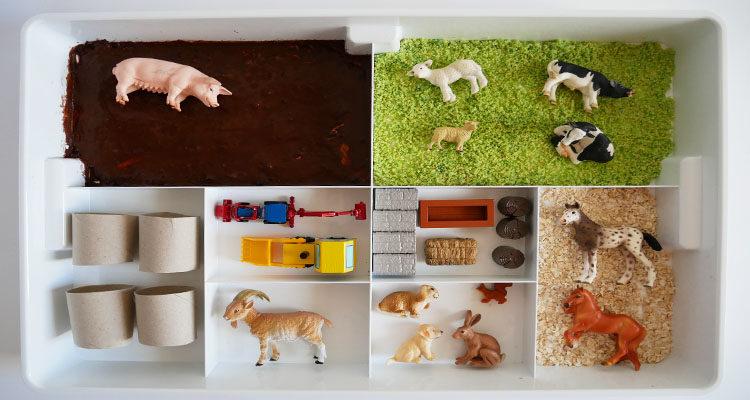 farmyard sensory tray