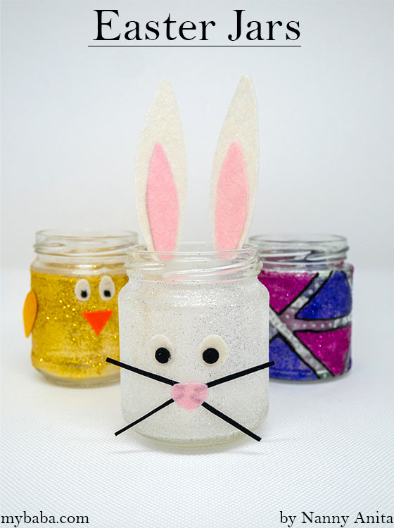 Easter jars for a centre piece or to hold chocolate eggs and sweets.