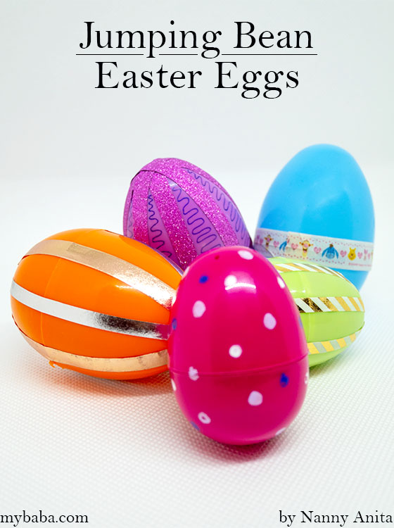 Jumping bean easter eggs  - can you get it to roll all the way down your arm.