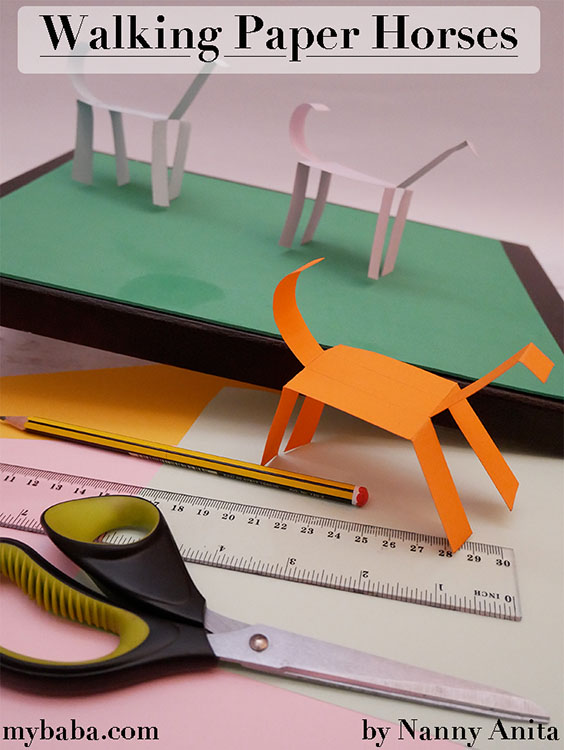 Walking paper horses - fun activity for kids.  Make your own horse race.