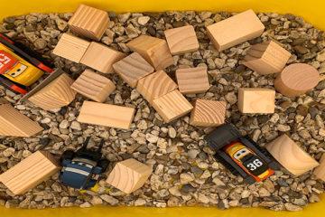 construction sensory tray