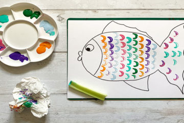rainbow fish celery painting
