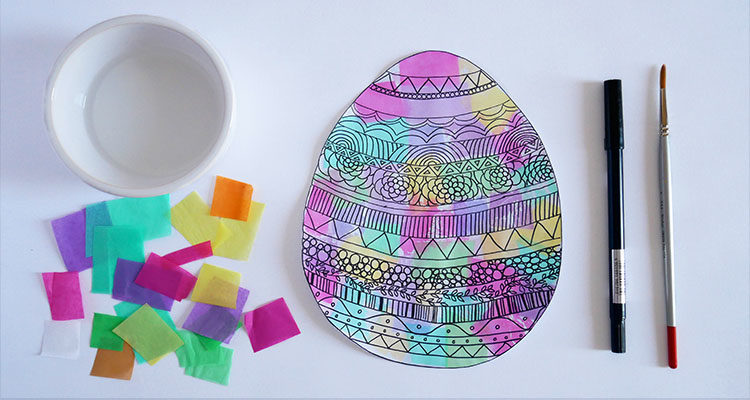 tissue paper painting easter eggs