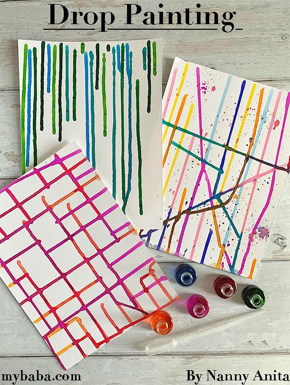 Drop painting process art for children.