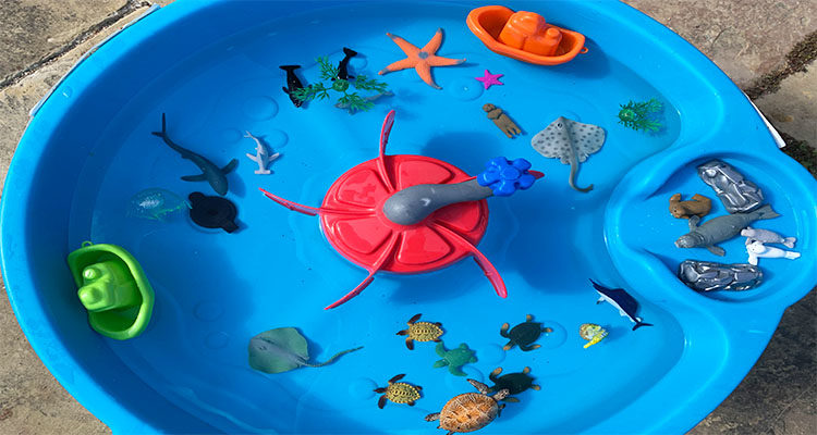 sea creatures sensory tray