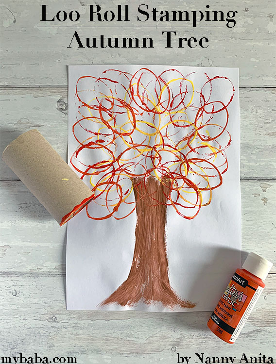 Loo roll stamping autumn tree craft for kids.